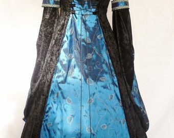 black and blue medieval wedding dress goth Renaissance pagan hooded costume custom made to your size made to order embroidered taffeta