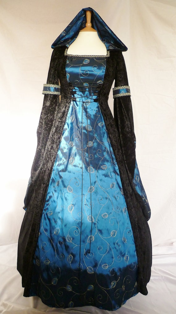 black and blue medieval wedding dress goth Renaissance pagan