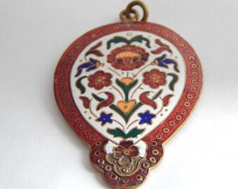 Victorian Enamel Pendant - Enamel Jewelry - Enamel Pendant - Antique Enamel Jewelry - Victorian Antique Necklace