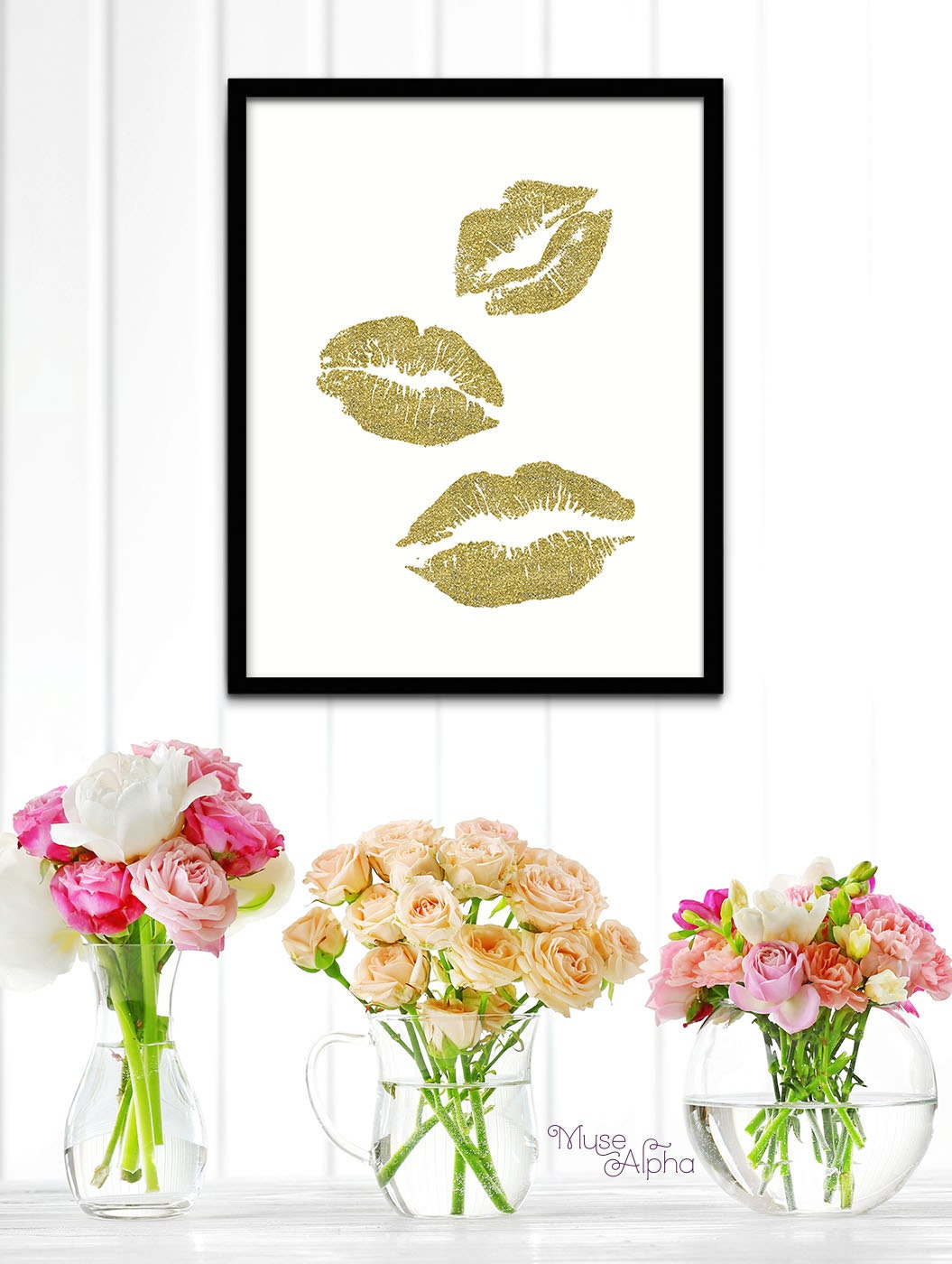 Etsy Gold Wall Decor : Gold art wall decor fashion prints
