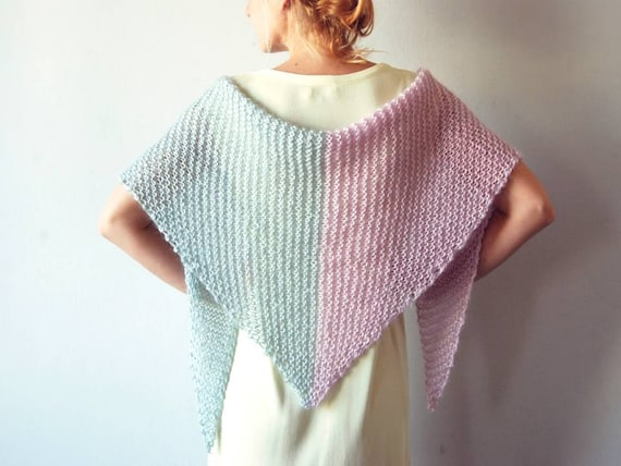 Loose Knit Shawl Pattern : Knit shawl crochet shawl loose knit boho wedding by PlexisArt