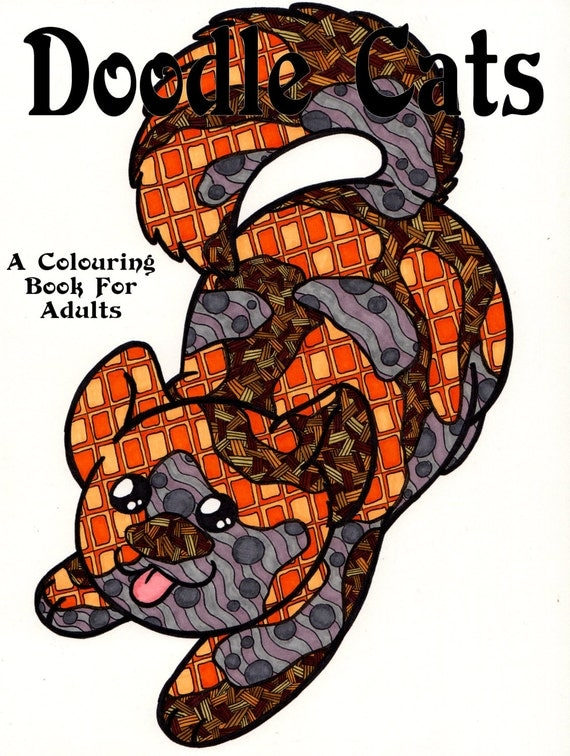 doodle cats colouring book for adults