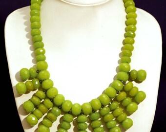 Bright Leafy Green Agate Handmade Bib Statement Necklace