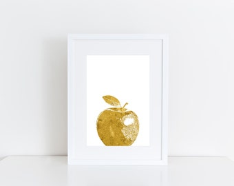 Gold apple -  Printable art , Instant download , wall art , print , deco kitchen