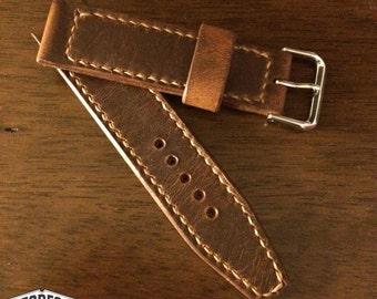 Horween Dublin Leather Watch Strap Hand Stitched and Made to Order
