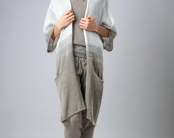 Linen cardigan,  oversized long linen kimono/cardigan/jacket Light Linen Summer,Knit Jacket,Woman Sweater Blouse