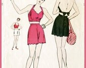 vintage playsuit swim sewing pattern 1940s 40s crop top halter high waisted shorts scallop edge beach swimsuit sun repro