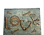 Rustic LOVE sign, distressed wood sign, rusty wedding sign, Father's Day Gift, vintage objects sign, home decor love gift, housewarming gift