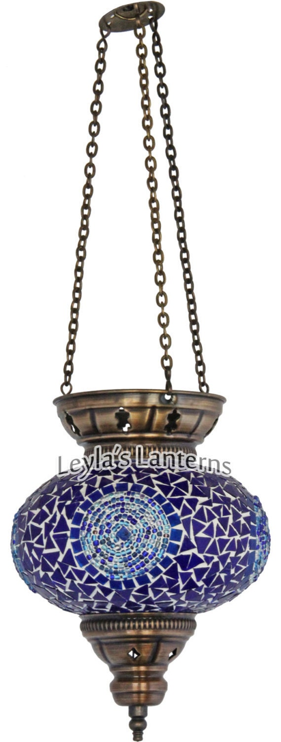 Non Hardwired Wall Lamps : 17 CM Non Wired Turkish Mosaic Hanging Light by LeylasLanterns
