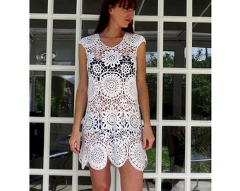 FINAL REDUCTION/Was 95 now 59pounds only/Unique Dress/Only 1 Available/Luxurious crochet dress/Loose Fit/Fit Size XS/S/M. Hand knitted