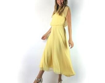 Vinatge Yellow Sheer Chiffon Midi Dress