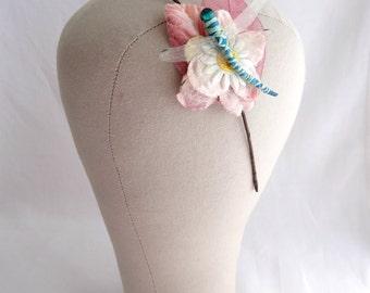 Pink & Blush Dragonfly Headband, Dragonfly Daisy Floral Hairband