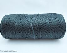 Grey macrame thread, waxed polyester cord, 16yards, dark grey waxed thread, jewelry thread, knotted bracelet, macrame jewelry, macrame, grey