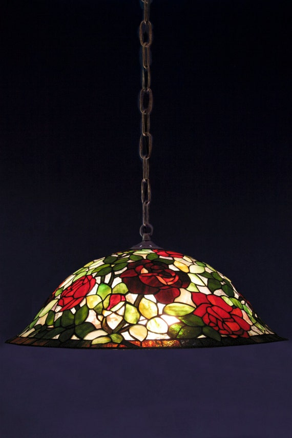 Pendant Lamp, Pendant Light Fixture, Custom Lampshades, Stained Glass Lampshade, Ceiling Lamp, Rose Lamp, Pendant Light,