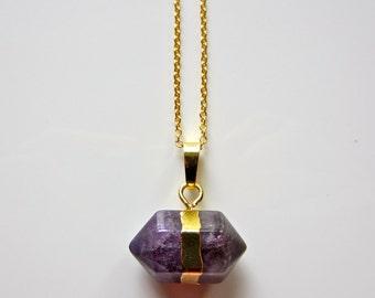 Semi Precious Prism Amethyst Crystal Pendant on Gold Fine Chain Necklace