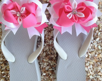 White Ribbon Embellished WEDGE Flip Flops with Pink and White Bow