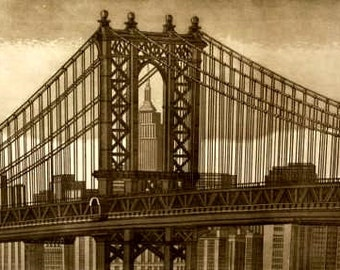 Brooklyn Bridge-etching of Dora Caputo numbered and signed