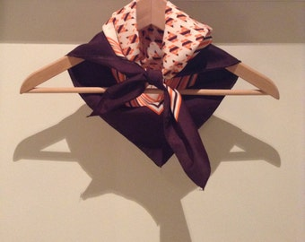 Vintage French scarf in whites, oranges and browns in mod, geometric pattern, from the 1970s