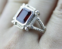 Size 8 AFRICAN GARNET Wire SETTING (Nickel Free) 925 Fine Sterling Silver Ring & Free Worldwide Express Shipping r15