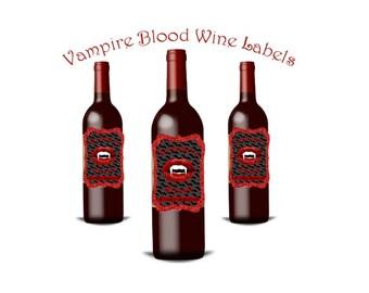 Printable Wine Label, Halloween Wine Label, Vampire Wine, Halloween Party Decor, DIY Wine Labels, Goth Party Decor, Vampire, Print At Home