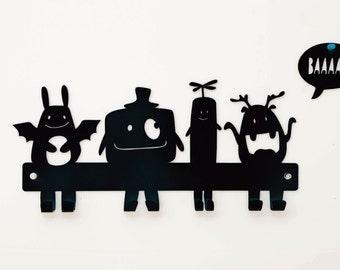 Monsters Coat Rack, Kids Wall Hanger, Nursery Wall Hooks, Metal Coat Hanger, Monster Nursery