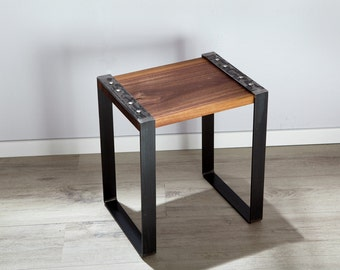 Stool, nightstand, coffee table from solid wood walnut and raw steel