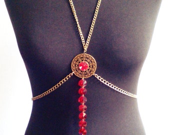 Body chain/ Body necklace/ body jewelry/ crystal necklace/ boho/ boho chic/ ethnic jewelry/