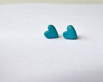 FREE SHIPPING,teal heart studs, teal stud earrings,teal heart ,teal studs,teal heart earrings,teal earrings,minimalist  studs,heart studs
