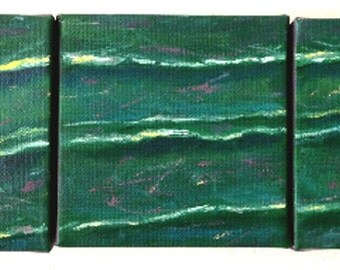 Ocean waves oil painting, abstract Ocean painting, wall decor, home decor. Triptych Art.
