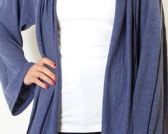 Plus Size Blue Jeans Cardigan Long Sleeve Top Oversized loose Knit Plus size sweater