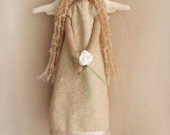 DIY Kit Vintage Angel Tilda artistic doll sewing pattern and dollmaking materials beige cotton fabric primitive art softie rag doll