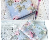 Notebook Cosmetic bag Shabby chic Fabric cover  Vintage style Wedding guestbook rustic wedding Wedding planner Old paper Diary