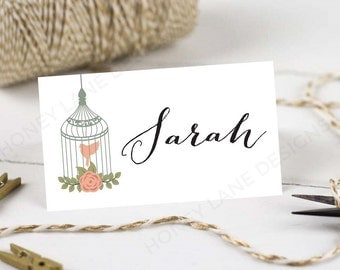 Personalised Printable Wedding Place Cards,Name Cards - Vintage Birdcage Collection