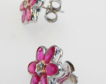 Beautiful Ruby Diamond Earring Sterling Silver 925 Handmade Awesome Stylish Fantastic Semi Precious Marvelous Great F7
