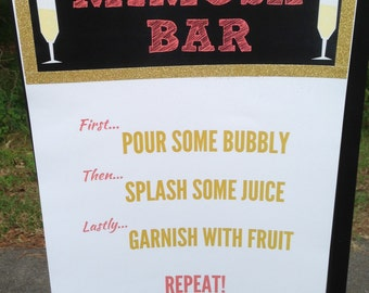 Mimosa Bar Sign, Bridal Shower, Mimosa Bar Signage, Bachlorette Party, Mimosa Bar Poster, Shower, Mimosa Bar