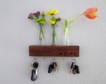 Reclaimed Wood Key & Flower Holder: Newlywed or Housewarming Gift