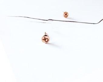 Taurus Stud Earring 18K Rose Gold Horoscope Stud Earring Star Sign Earring Simple Everyday Earring Birthday Gift Horoscope Astrology Earring