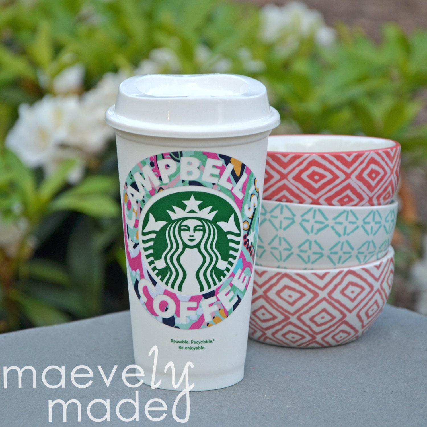 personalized lilly pulitzer starbucks cup reusable by