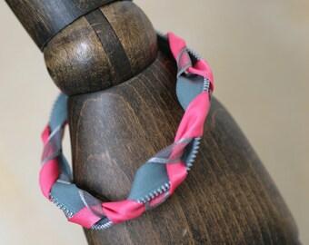 Zip, ribbon & braid bracelet - pink/grey