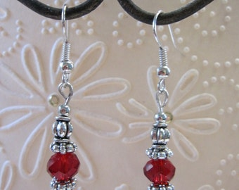 Silver and Red beaded Earrings