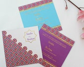 LAUNCH SALE-Flat 50% off- Moroccan Theme Wedding Suite, Indian Arabic, Set of 3- DIY Printable or Printed Invite
