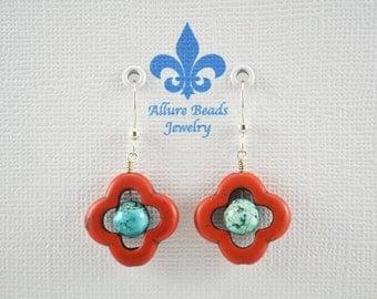 Howlite & Turquoise Earrings