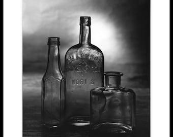 3 bottles. Silver gelatin darkroom print. 8x10 inch.