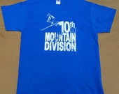 Colorado ski history tshirt 10th Mountain Division World War II royal blue 100% cotton Gildan short sleeve graphic tee