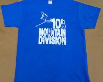 Colorado ski history tshirt 10th Mountain Division World War II royal blue 100% cotton Gildan short sleeve graphic tee