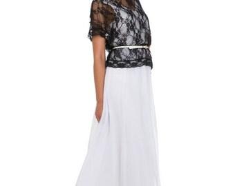 Luxurious evening dress, 2 in 1, white dress, chiffon dress, chiffon maxi dress and lace