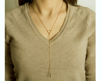 Triangle Y Necklace / Triangle Lariat Necklace / Lariat Chain / Long Rosary / Gold Y Necklace  / Minimal Layering Necklace / N129