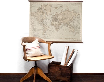 World Map in Antique wall hanging