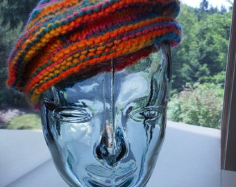 Rainbow Beret, Hand-Knit Multi-Colors