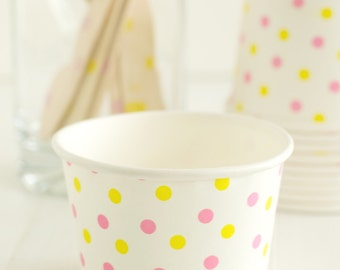 Pink and Yellow Dot Ice Cream Cups- Set of 10 Ice Cream Cups